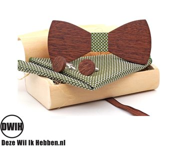 Houten strik met houten manchetknopen, en Pochette groen