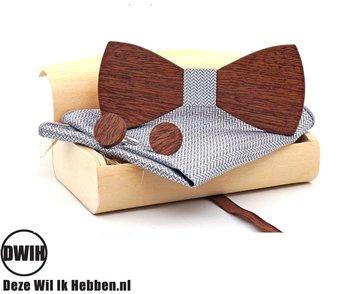 Houten strik met houten manchetknopen, en Pochette Zilver/Grijs