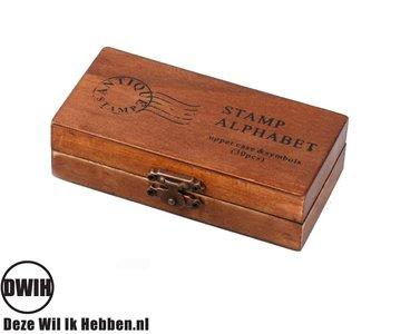 Stempeldoos hout - Alfabet - 30 letters en symbolen - stempelset