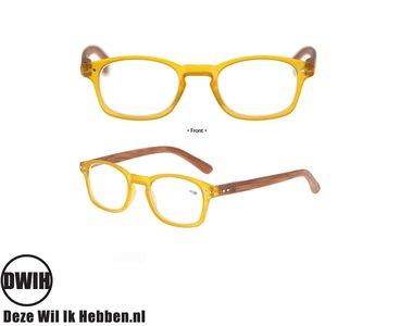 Leesbril op sterkte, Houten pootjes, geel frame