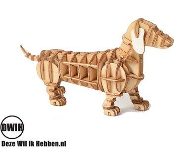 Houten 3D  puzzel Hond / tekkel - bouwpakket