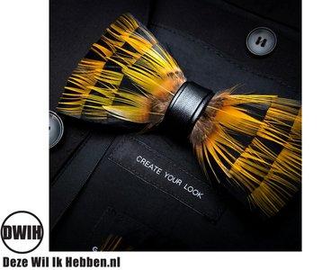 Vlinderdas van veren geel/zwart