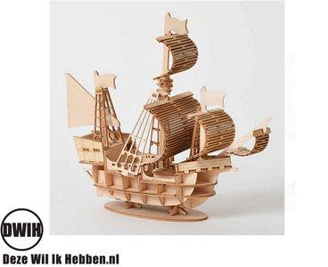 Houten 3D puzzel zeilschip / Boot- bouwpakket