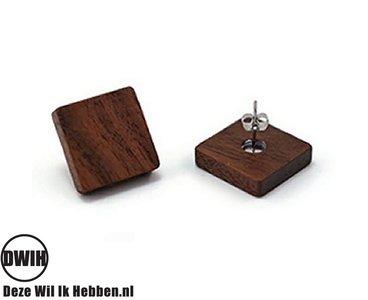 Houten vierkante oorbel, Walnoot