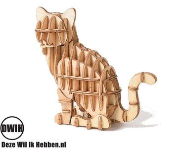 Houten 3D puzzel zittende Kat / Poes