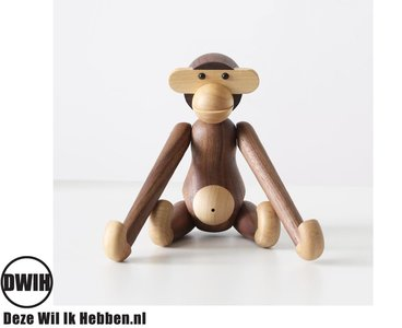 Nordic Design: houten Aap / Monkey - donker Walnoot, 28 cm
