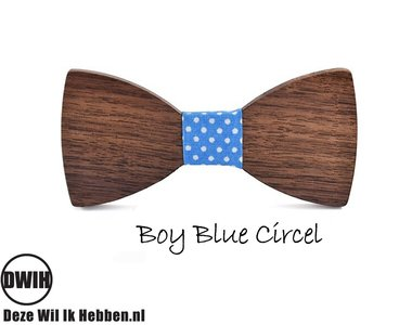 Houten strik: Boy Blue Circel- Kindermaat