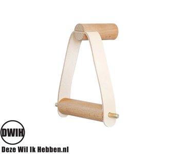 Nordic Design: WC rol houder van hout gecombineerd met leer
