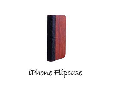 Houten flip case, iPhone 4 – Bamboe en Leer