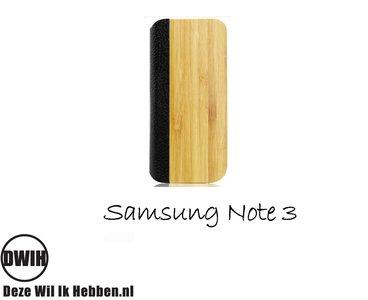 Samsung Note 3 Flip case Bamboo en zwart leer
