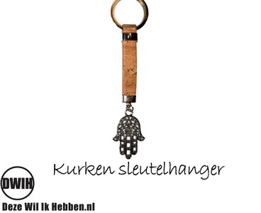 Kurken sleutelhanger met de hand van Fatima