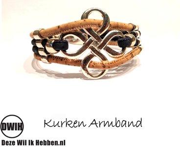 Kurken armband 50 naturel / bruin 4 baans, bloem