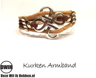 Kurken armband 49 naturel / blauw 4 baans, bloem