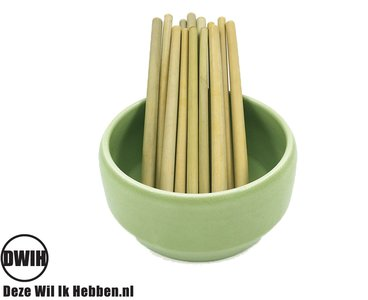 Bamboe rietjes,  10 stuks + schoonmaakborstel