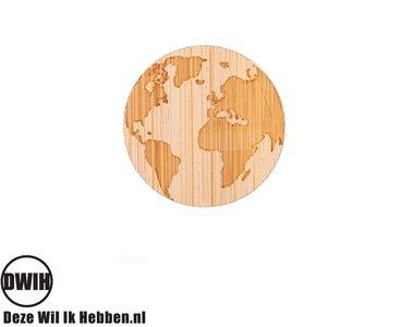 LaserWood Pin / Broche Wereldbol