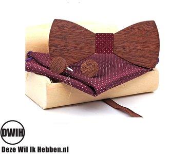 Houten strik met houten manchetknopen, en Pochette Bordeaux Rood
