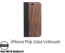 Houten flip case, iPhone Walnoot en Leer