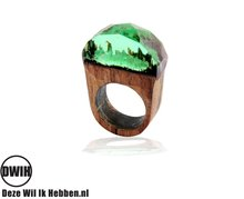 Houten hars ring groen