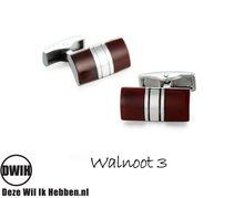 Houten manchetknopen Rond Walnoot